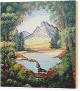 The Lake Path Wood Print