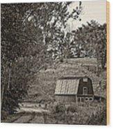 The Lane Sepia Wood Print