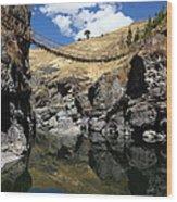 The Last Inca Rope Bridge Wood Print