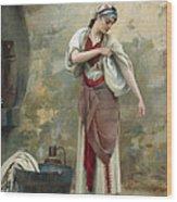 The Laundress Wood Print