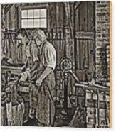 The Lesson Sepia Wood Print by Steve Harrington