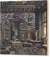 The Library In The Palais Dumba-1877 Wood Print
