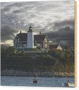The Light At Nobska Point  Wood Print