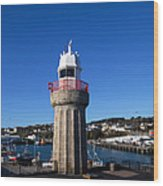 The Lighthouse And Fishing Harbour Wood Print