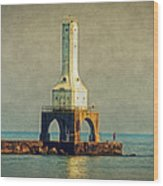 The Lighthouse And The Fisherman Wood Print