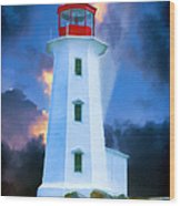 The Lighthouse At Peggys Cove Wood Print
