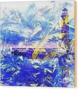 The Lighthouse Through Turbulent Waters Wood Print