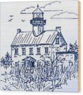 The Lines Of East Point Light In Blue Wood Print
