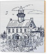 The Lines Of East Point Lighthouse In Blue 2 Wood Print