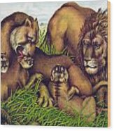 The Lion Family Wood Print