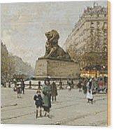 The Lion Of Belfort Le Lion De Belfort Wood Print by Eugene Galien-Laloue