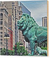 The Lions Of Chicago Wood Print