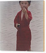 The Little Boy In The Red Silk Dress Wood Print