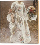 The Little Flower Girl  Wood Print by Albert Raudnitz