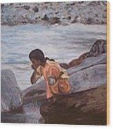 Little Girl And Ganga River Wood Print