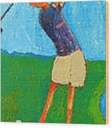 The Little Golfer Wood Print