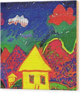 The Little House In The Montains Wood Print