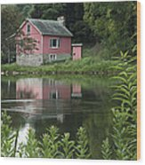 The Little Pink Cabin With Ripples Wood Print