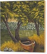 The Little Red Boat Wood Print