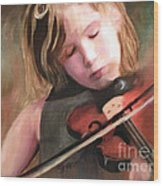 The Little Violinist Wood Print by Sharon Burger