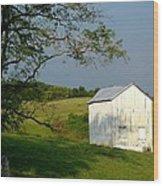 The Little White Barn Wood Print