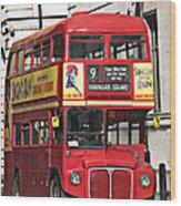 Vintage London Bus Wood Print
