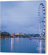 The London Eye Dawn Light Wood Print by Donald Davis