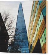 The London Shard In Blue No2 Wood Print