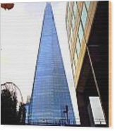 The London Shard In Blue No4 Wood Print