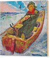 The Lone Boatman Wood Print