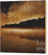 The Lonely Fisherman Wood Print