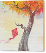 The Lonely Kite Wood Print