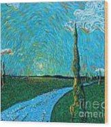 The Long Blue Road Wood Print