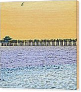 The Long Pier - Art By Sharon Cummings Wood Print