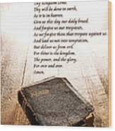 The Lord's Prayer And Bible Wood Print by Olivier Le Queinec