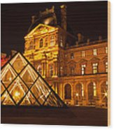 The Louvre At Night Wood Print