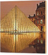 The Louvre By Night Wood Print
