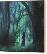 The Lovers Cottage By Night Wood Print