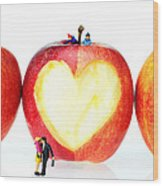 The Lovers In Valentine's Day Little People On Food Wood Print