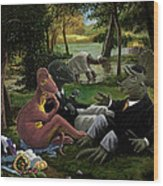 The Luncheon On The Grass With Dinosaurs Wood Print