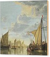 The Maas At Dordrecht Wood Print by Aelbert Cuyp