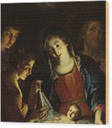 The Madonna Adoring The Infant Christ Wood Print