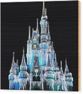 The Magic Kingdom Castle In Frosty Light Blue Walt Disney World Wood Print