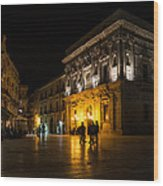 The Magical Duomo Square In Ortygia Syracuse Sicily Wood Print