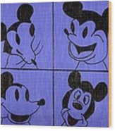 The Many Faces Of Mickey Wood Print