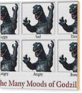 The Many Moods Of Godzilla Wood Print by William Patrick
