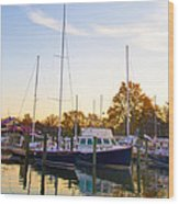 The Marina At St Michael's Maryland Wood Print by Bill Cannon