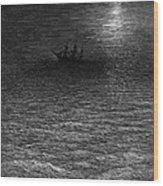 The Marooned Ship In A Moonlit Sea Wood Print