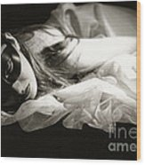 The Masked Woman Wood Print by Sharon Coty