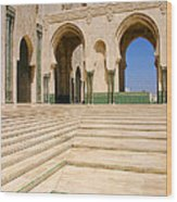 The Massive Colonnades leading to the Hassan II Mosque Sour Jdid Casablanca Morocco Wood Print